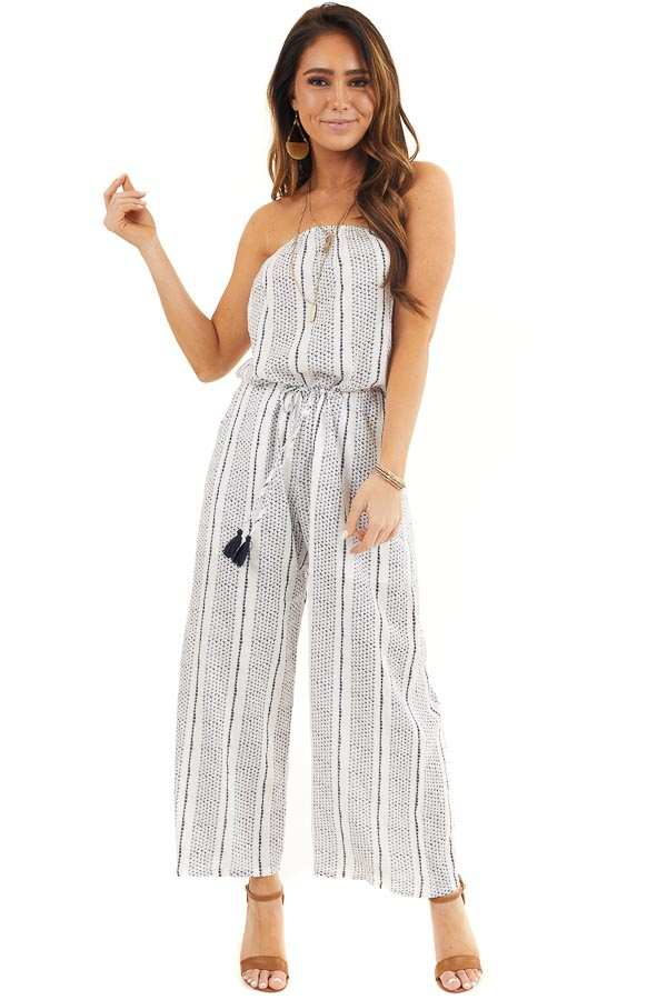 Off White and Navy Printed Strapless Jumpsuit with Waist Tie front full body