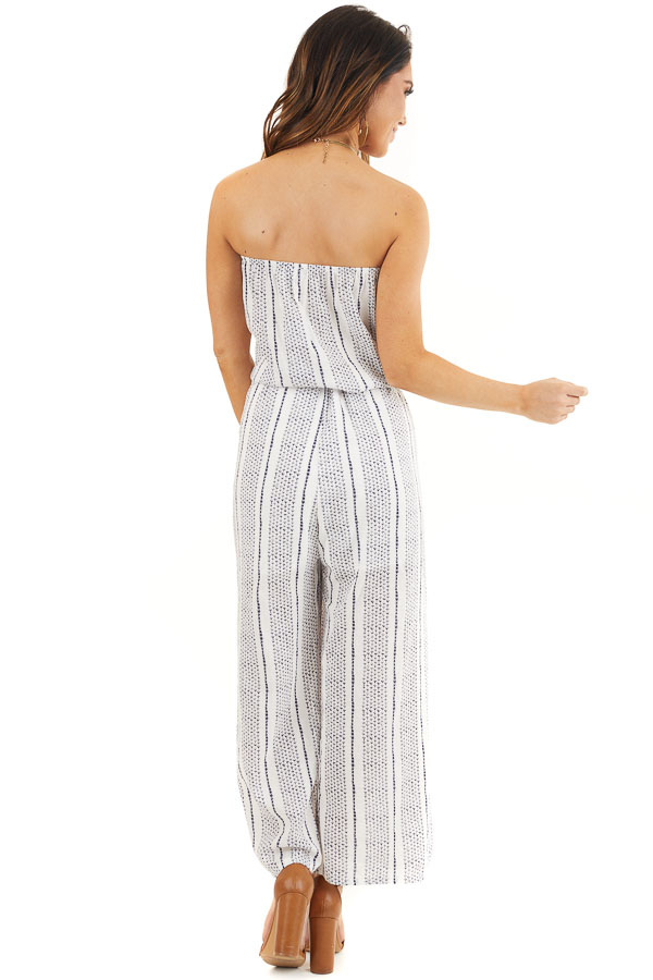 Off White and Navy Printed Strapless Jumpsuit with Waist Tie back full body