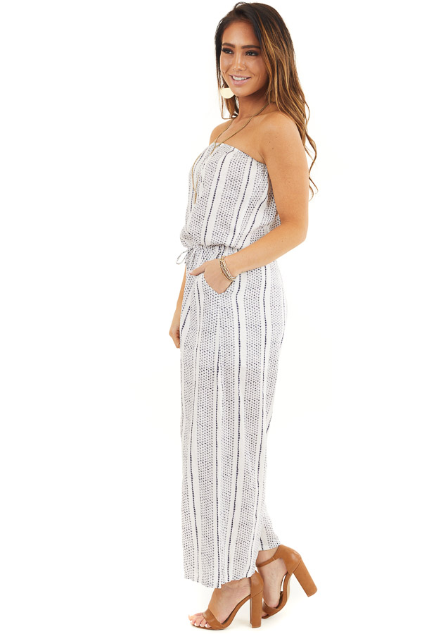 Off White and Navy Printed Strapless Jumpsuit with Waist Tie side full body