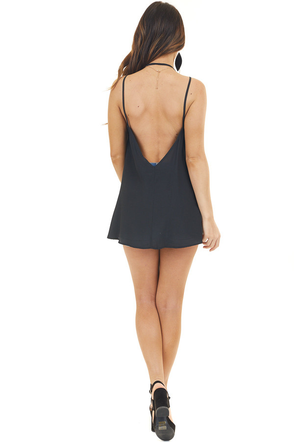 Black Sleeveless Tank Top with V Neck and Button Details back full body