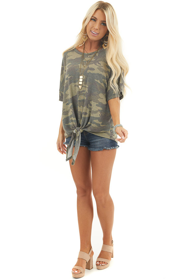 Olive and Sage Camo Short Sleeve Top with Front Knot Detail front full body