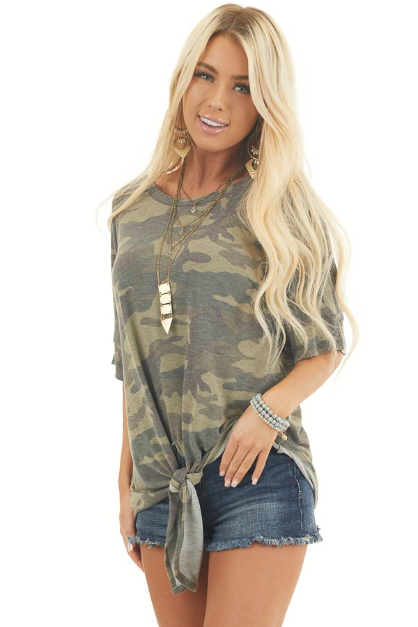 Olive and Sage Camo Short Sleeve Top with Front Knot Detail front close up