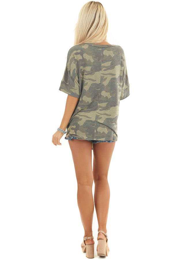 Olive and Sage Camo Short Sleeve Top with Front Knot Detail back full body