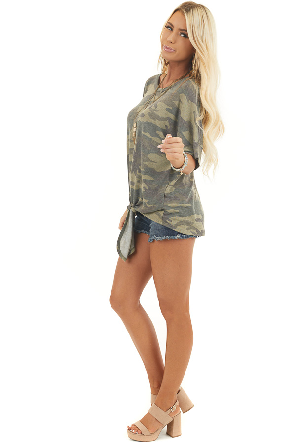 Olive and Sage Camo Short Sleeve Top with Front Knot Detail side full body