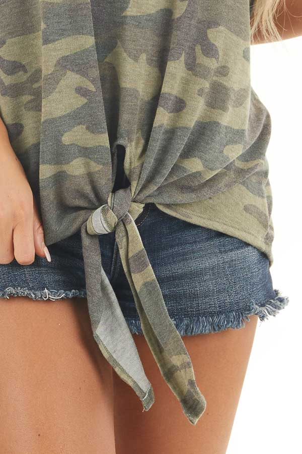 Olive and Sage Camo Short Sleeve Top with Front Knot Detail detail