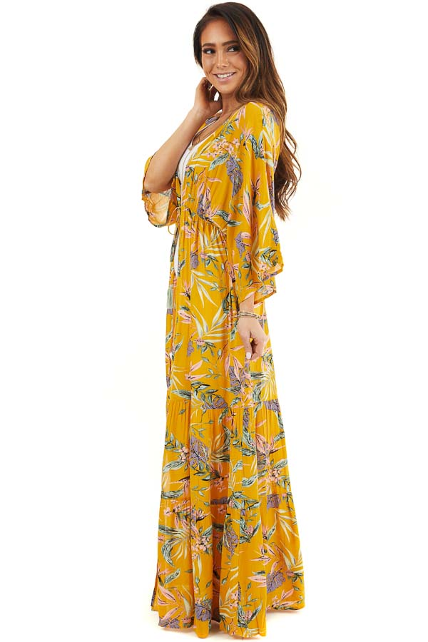 Marigold Floral Long Sleeve Kimono with Front Tie side full body