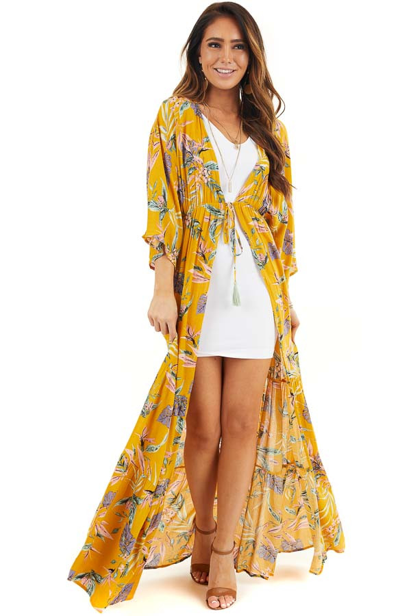Marigold Floral Long Sleeve Kimono with Front Tie front full body