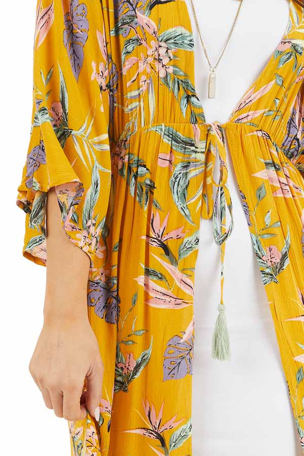 Marigold Floral Long Sleeve Kimono with Front Tie detail