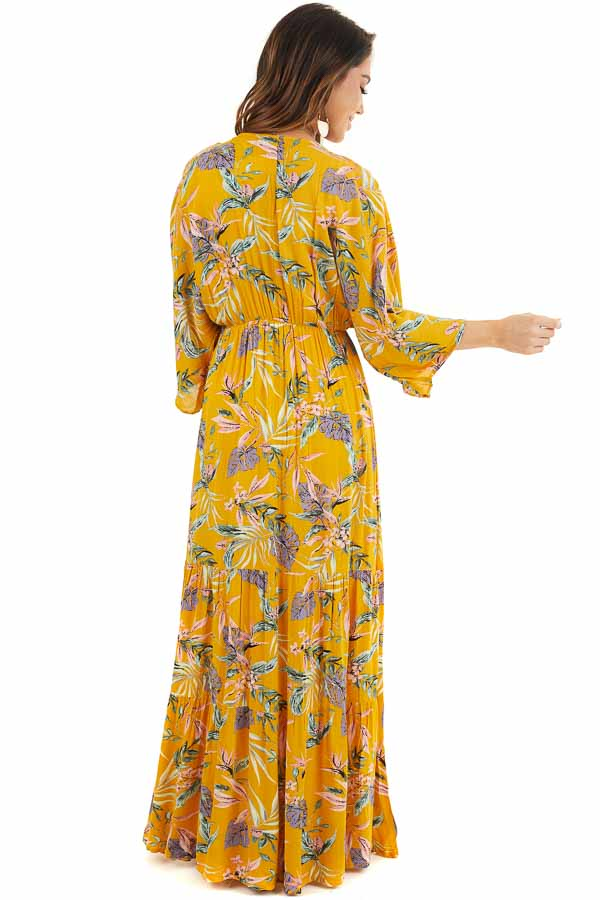 Marigold Floral Long Sleeve Kimono with Front Tie back full body