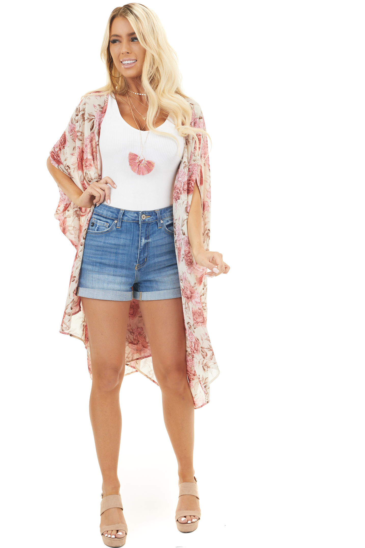 Ivory and Dusty Coral Floral Print Kimono with Open Front