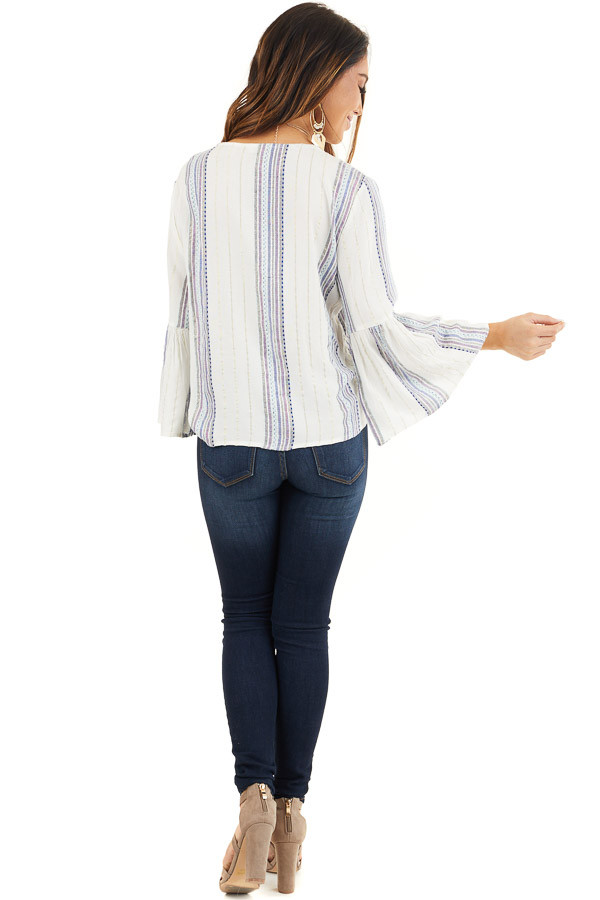 Ivory and Plum Striped V Neck Blouse with Front Tie Detail back full body