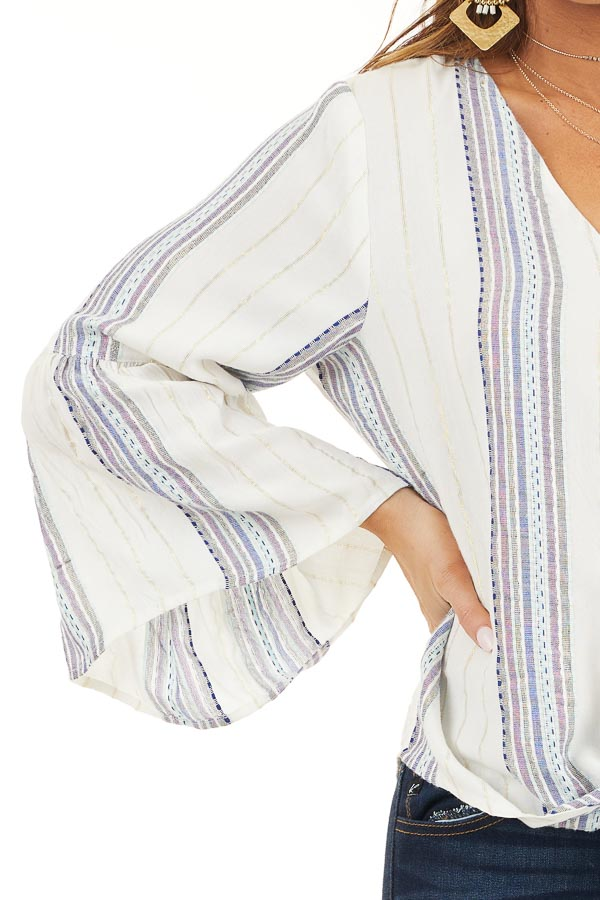 Ivory and Plum Striped V Neck Blouse with Front Tie Detail detail