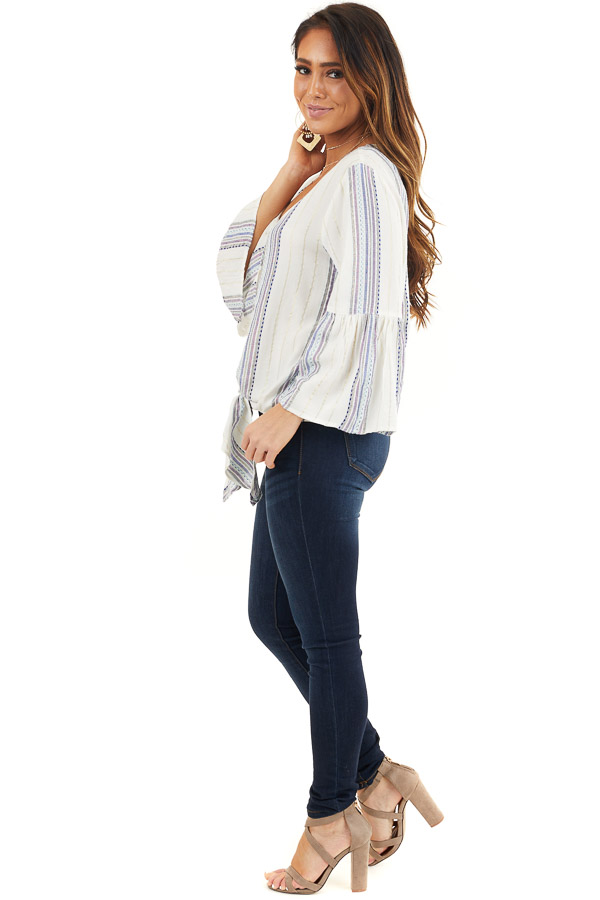 Ivory and Plum Striped V Neck Blouse with Front Tie Detail side full body