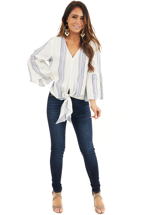 Ivory and Plum Striped V Neck Blouse with Front Tie Detail front full body
