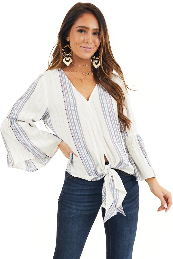 Ivory and Plum Striped V Neck Blouse with Front Tie Detail front close up