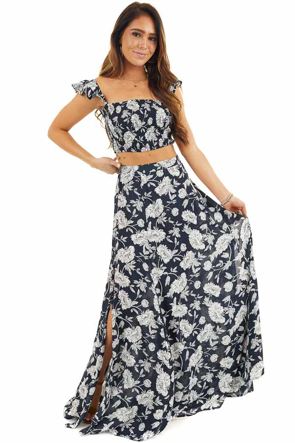 Dark Navy Blue Floral Print Crop Top and Maxi Skirt Set front full body
