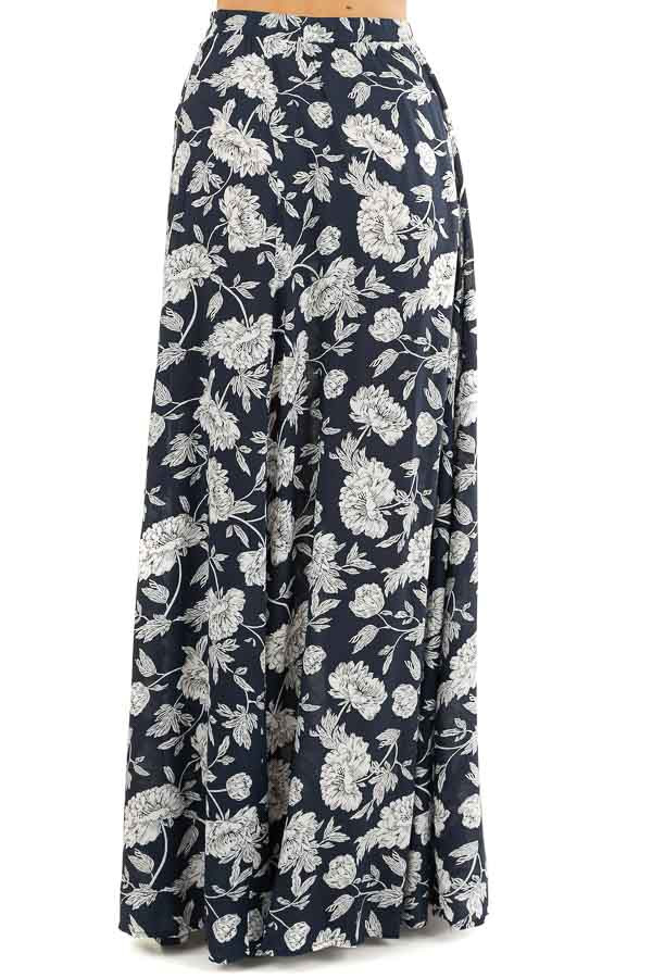 Dark Navy Blue Floral Print Crop Top and Maxi Skirt Set back view