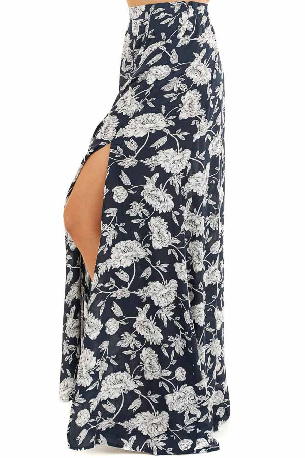 Dark Navy Blue Floral Print Crop Top and Maxi Skirt Set side view