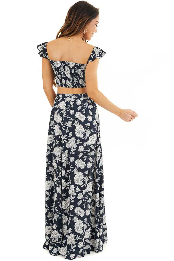 Dark Navy Blue Floral Print Crop Top and Maxi Skirt Set back full body