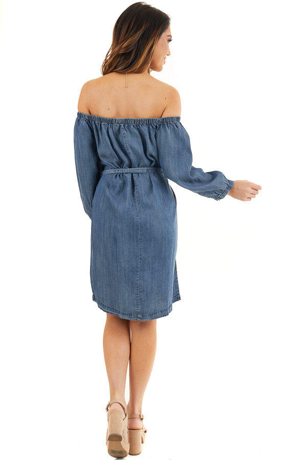 Dark Denim Off the Shoulder Chambray Dress with Waist Tie back full body