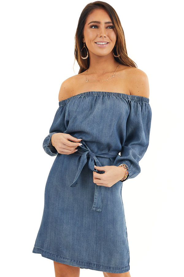 Dark Denim Off the Shoulder Chambray Dress with Waist Tie front close up