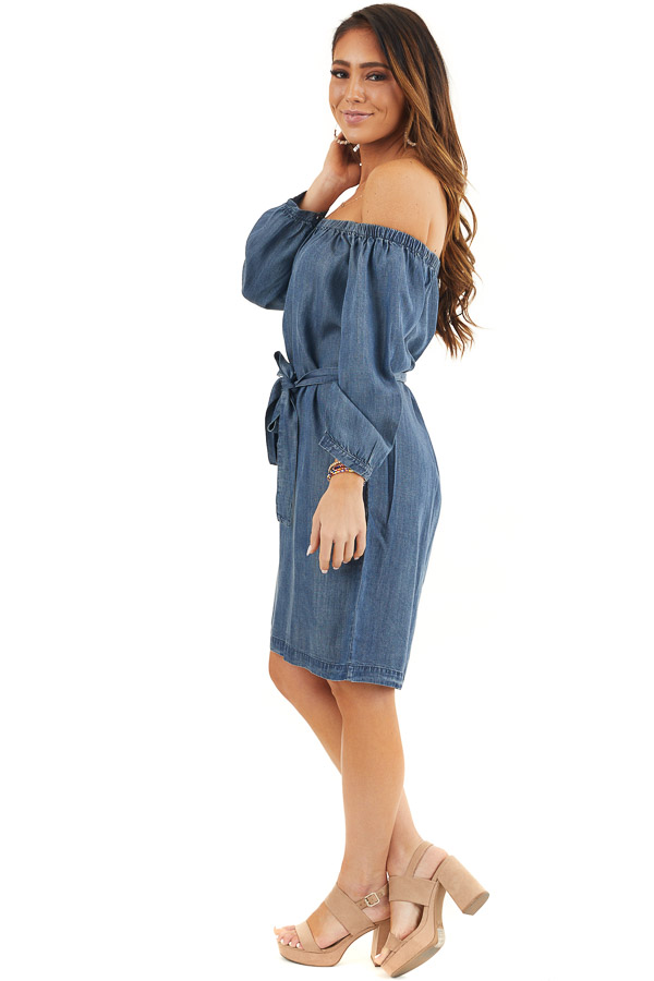 Dark Denim Off the Shoulder Chambray Dress with Waist Tie side full body