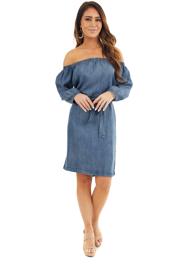 Dark Denim Off the Shoulder Chambray Dress with Waist Tie front full body