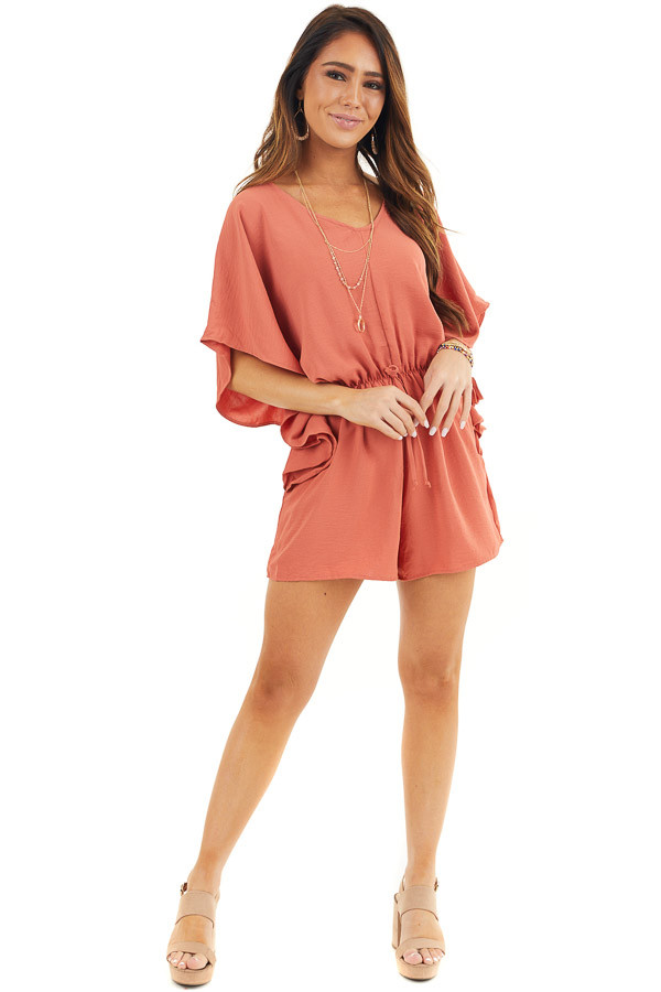 Terracotta Short Sleeve Romper with V Neck and Waist Tie front full body