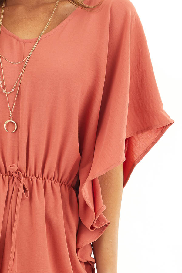 Terracotta Short Sleeve Romper with V Neck and Waist Tie detail