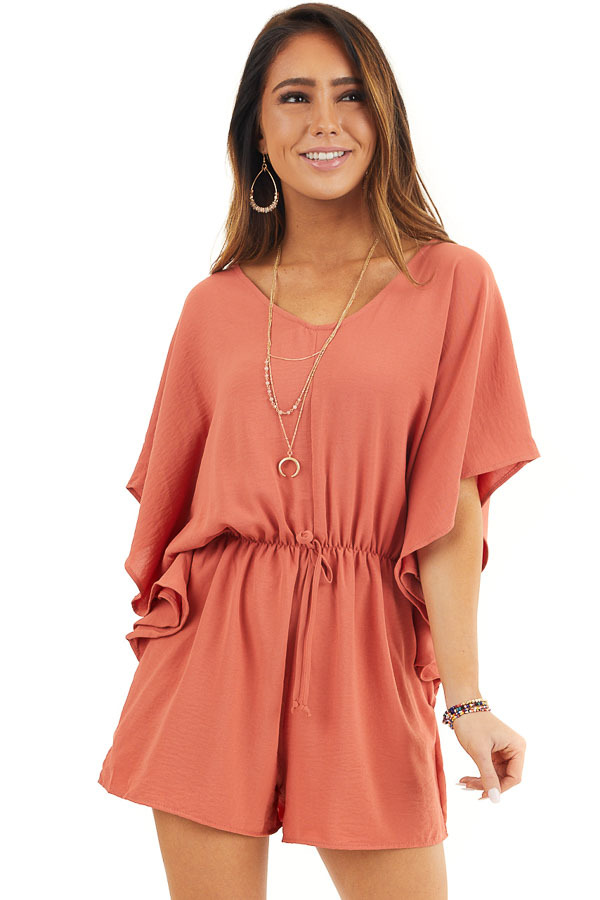 Terracotta Short Sleeve Romper with V Neck and Waist Tie front close up