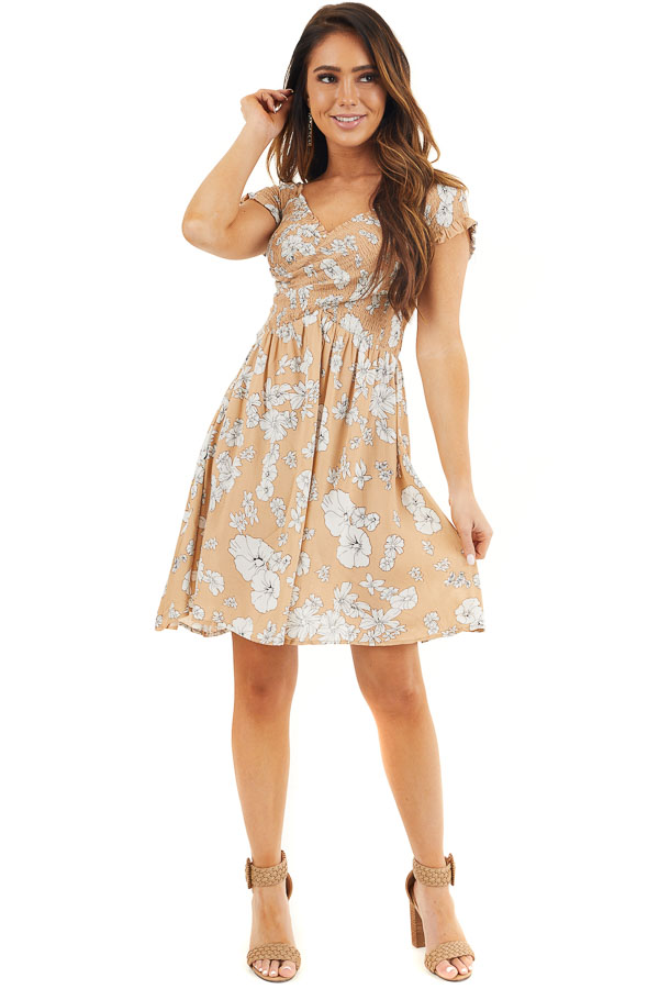 Toffee Floral Print Off Shoulder Smocked Criss Cross Dress front full body