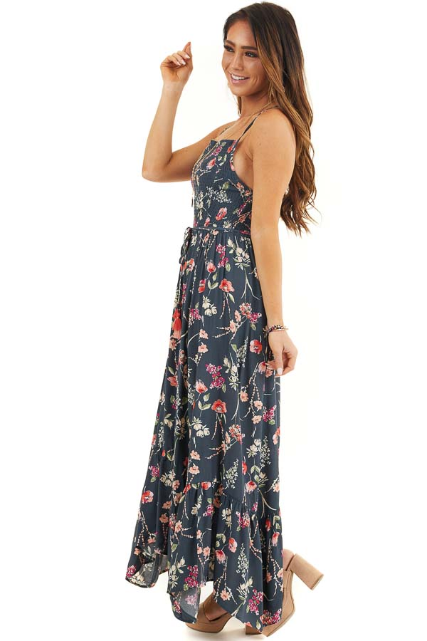 Steel Blue Floral Print Maxi Dress with Smocked Bodice side full body