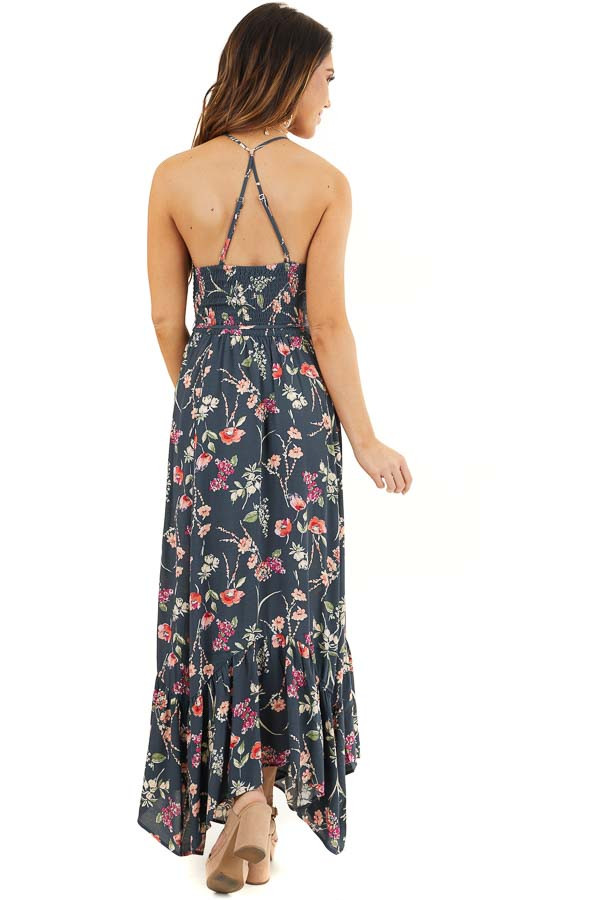 Steel Blue Floral Print Maxi Dress with Smocked Bodice back full body