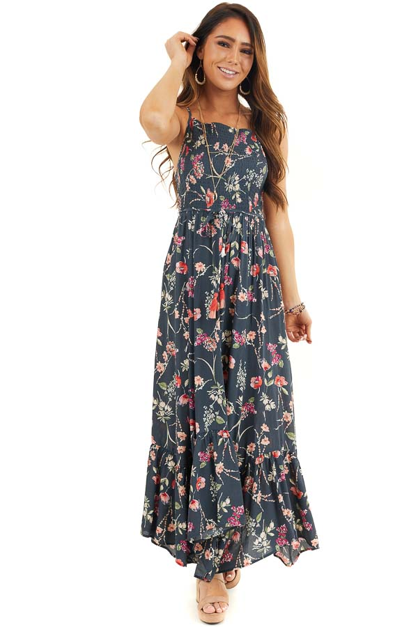 Steel Blue Floral Print Maxi Dress with Smocked Bodice front full body