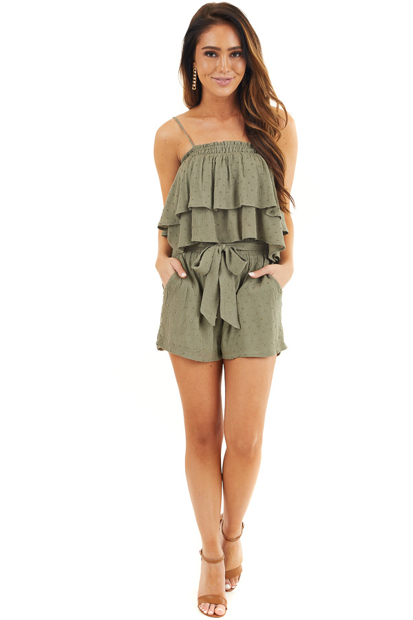 Dusty Sage Swiss Dot Crop Top and Shorts Two Piece Set front full body