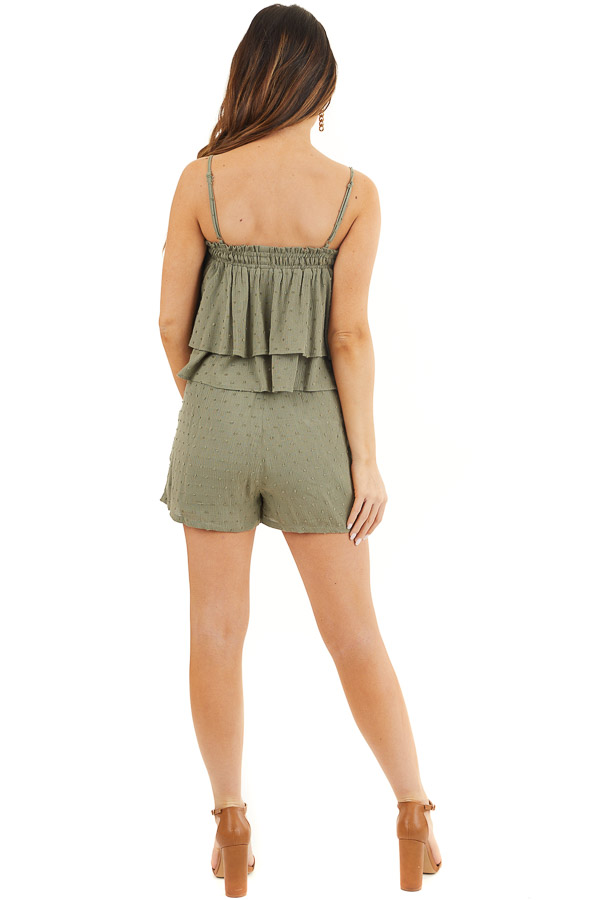 Dusty Sage Swiss Dot Crop Top and Shorts Two Piece Set back full body