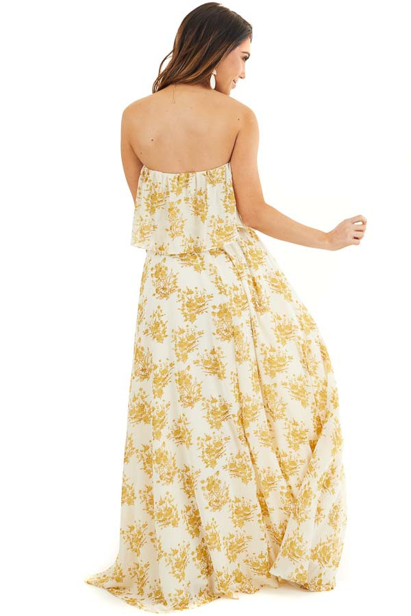 Cream and Gold Floral Print Strapless Overlay Maxi Dress back full body