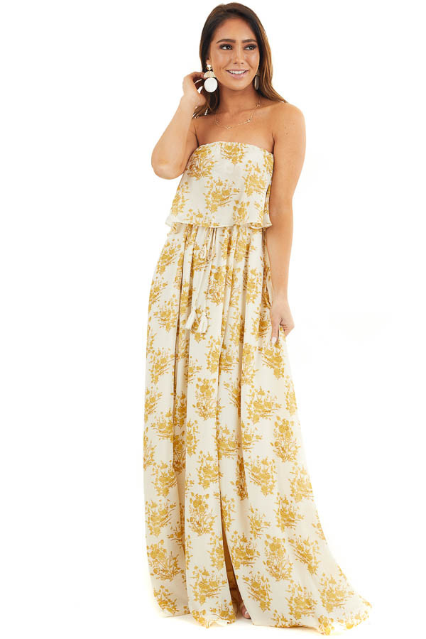 Cream and Gold Floral Print Strapless Overlay Maxi Dress front full body