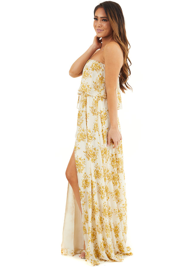 Cream and Gold Floral Print Strapless Overlay Maxi Dress side full body