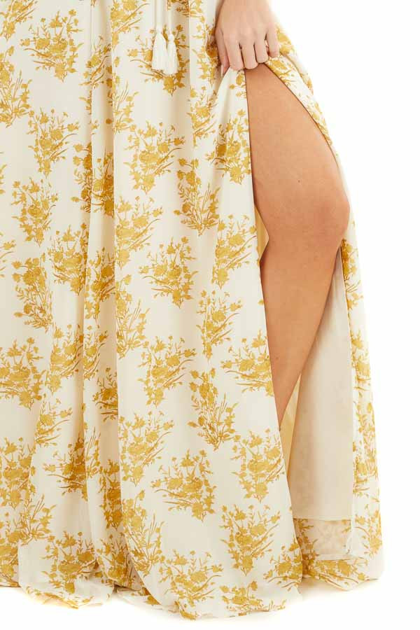 Cream and Gold Floral Print Strapless Overlay Maxi Dress detail