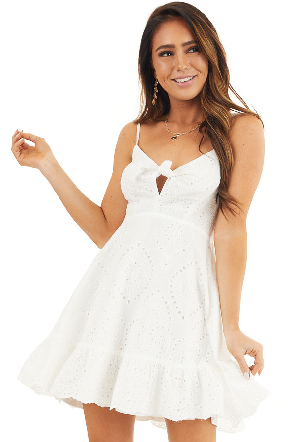 Off White Eyelet Lace Sleeveless Dress with Front Tie front close up