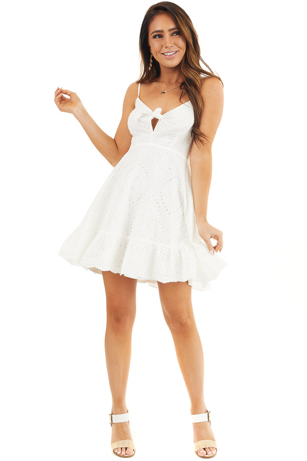 Off White Eyelet Lace Sleeveless Dress with Front Tie front full body