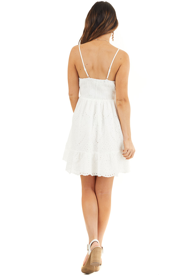 Off White Eyelet Lace Sleeveless Dress with Front Tie back full body