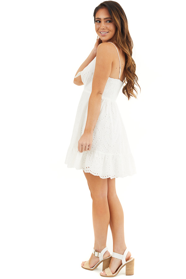 Off White Eyelet Lace Sleeveless Dress with Front Tie side full body