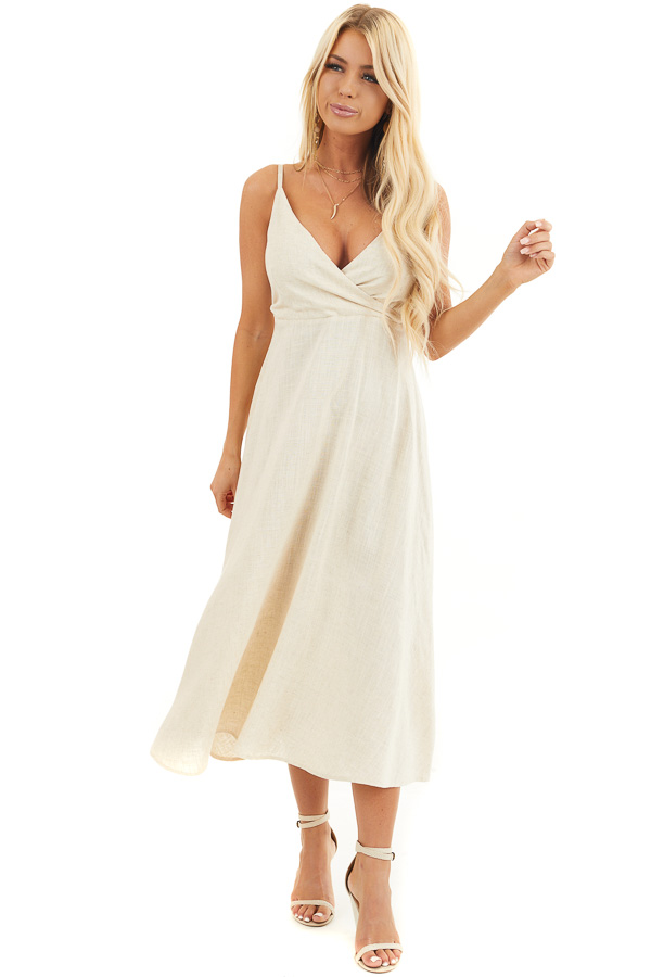Oatmeal Sleeveless Surplice Maxi Dress with V Neckline front full body