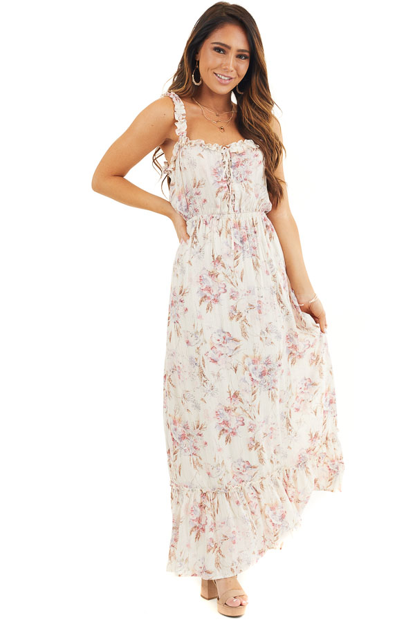 Ivory Floral Maxi Dress with Ruffles and Lace Up Bodice front full body
