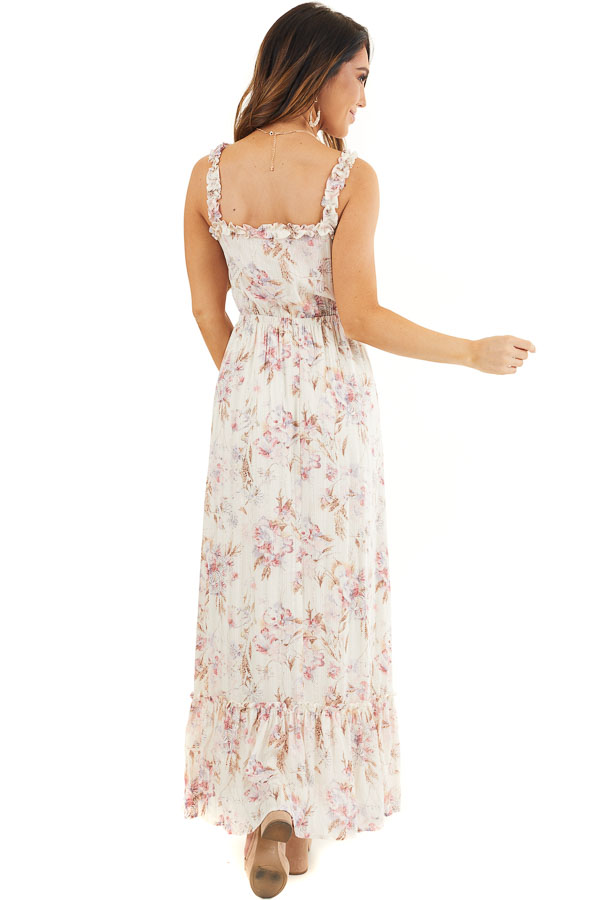 Ivory Floral Maxi Dress with Ruffles and Lace Up Bodice back full body