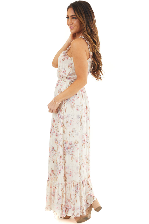 Ivory Floral Maxi Dress with Ruffles and Lace Up Bodice side full body