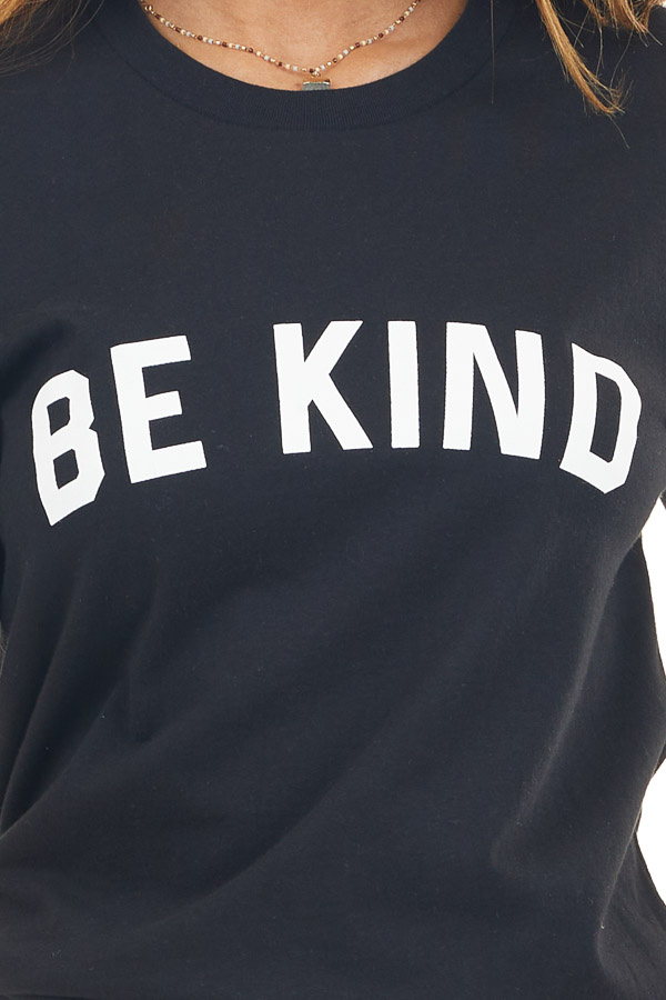 Solid Black 'Be Kind' Graphic Tee with Short Sleeves detail