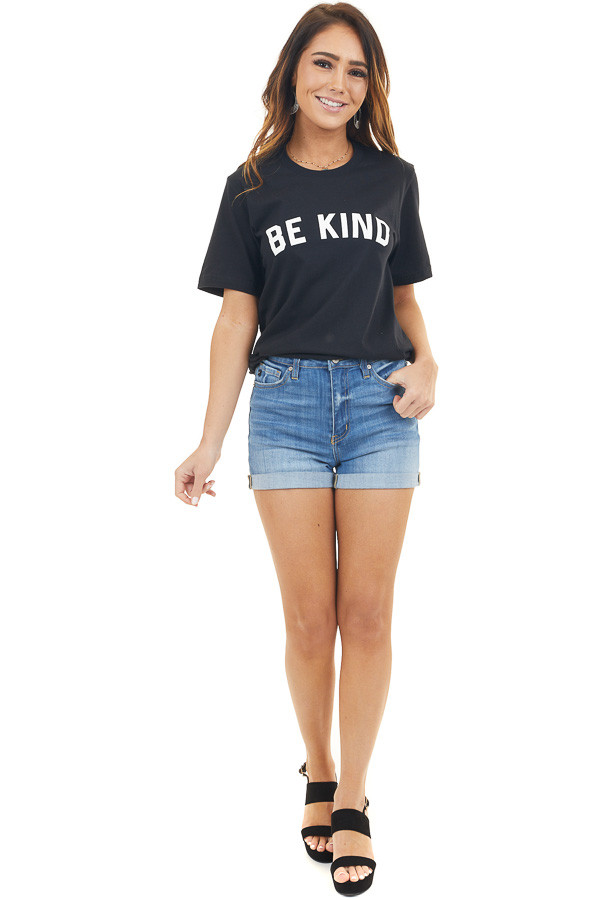 Solid Black 'Be Kind' Graphic Tee with Short Sleeves front full body